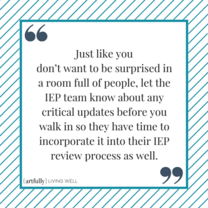 IEP review meeting - no surprises